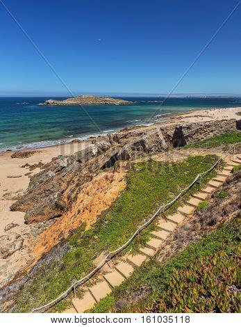 Sandy beach near the island Pessegueiro. Sines Portugal