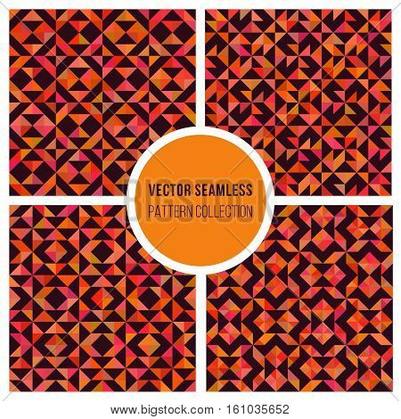 Set of Four Vector Seamless Orange Square Truchet Geometric Pattern Collection Tiling