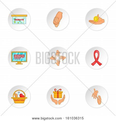Donation icons set. Cartoon illustration of 9 donation vector icons for web