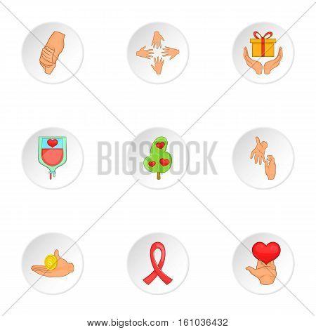 Philanthropy icons set. Cartoon illustration of 9 philanthropy vector icons for web