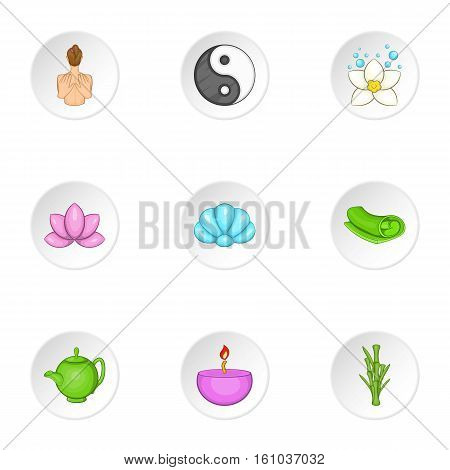Relaxation icons set. Cartoon illustration of 9 relaxation vector icons for web