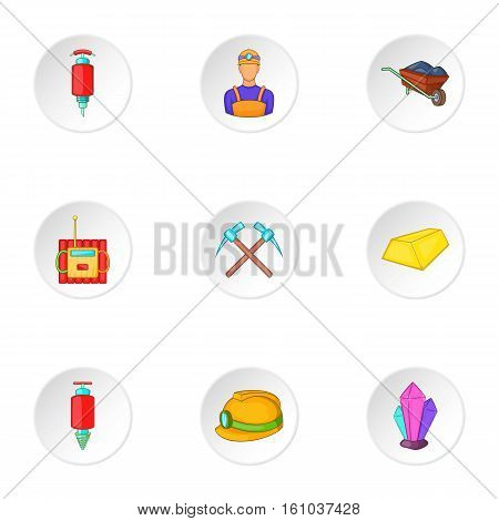 Coal icons set. Cartoon illustration of 9 coal vector icons for web