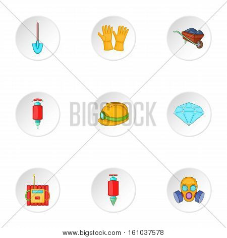 Mine icons set. Cartoon illustration of 9 mine vector icons for web
