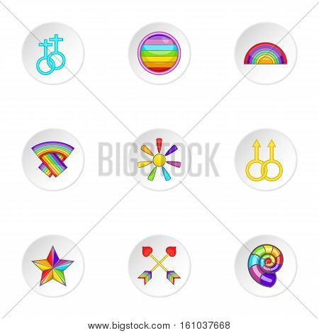 Sexual minorities icons set. Cartoon illustration of 9 sexual minorities vector icons for web