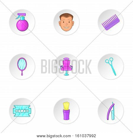 Salon icons set. Cartoon illustration of 9 salon vector icons for web