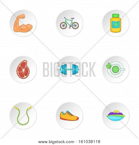 Active lifestyle icons set. Cartoon illustration of 9 active lifestyle vector icons for web