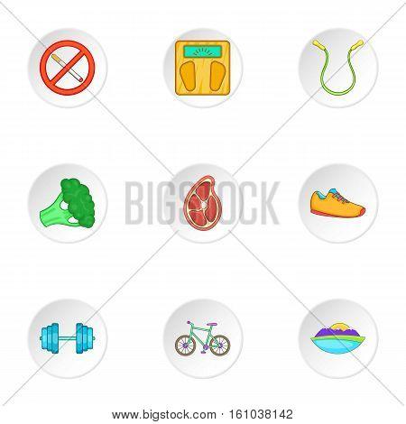 Healthy lifestyle icons set. Cartoon illustration of 9 healthy lifestyle vector icons for web
