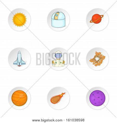Outer space icons set. Cartoon illustration of 9 outer space vector icons for web