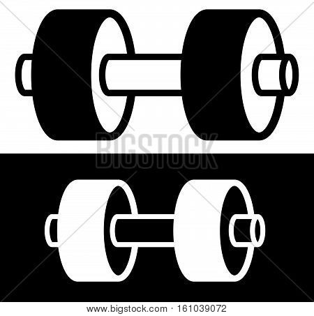 One Arm Barbell Weight Symbol With 2 Plates. Barbell Clip-art For Bodybuilding, Weight Lifting, Exer