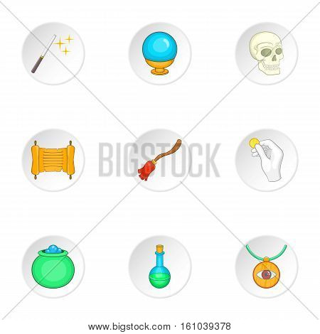 Witchcraft icons set. Cartoon illustration of 9 witchcraft vector icons for web