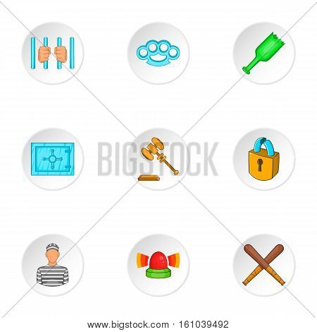 Robbery icons set. Cartoon illustration of 9 robbery vector icons for web