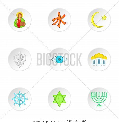 Beliefs icons set. Cartoon illustration of 9 beliefs vector icons for web