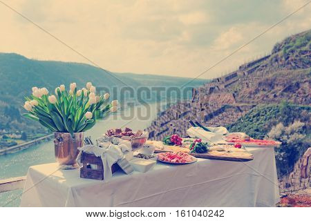 Lunch at the vineyard, serene scenery, Moselle river, Germany, toned