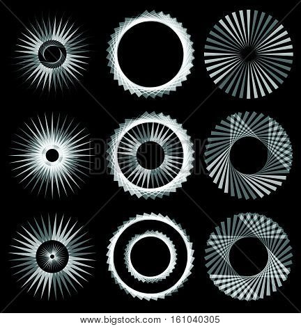 Geometric Circle With Transparent Elements. Circular Abstract Spiral Motif With Radial, Concentric L