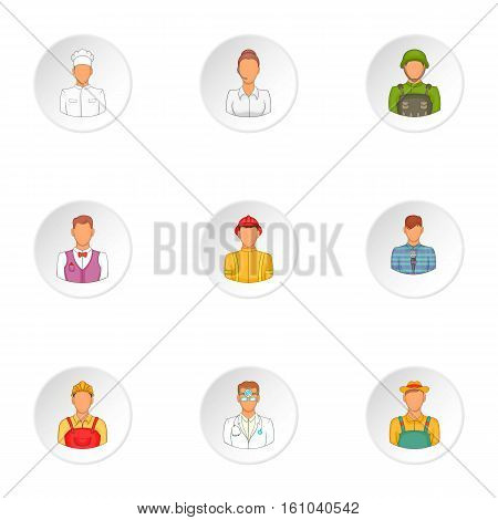 Occupation icons set. Cartoon illustration of 9 occupation vector icons for web