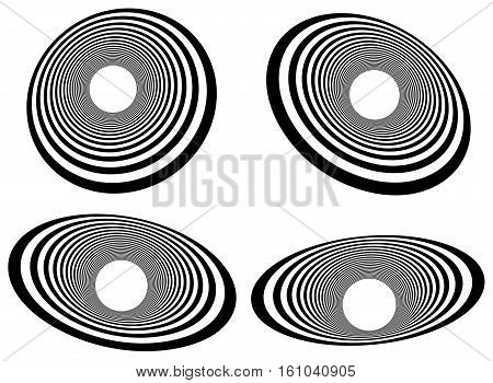 Elliptical Elements With Concentric, Radial Circles. Radiating Circles Pattern.