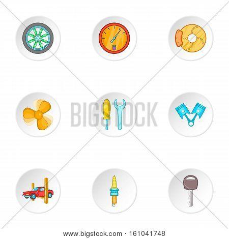 Maintenance car icons set. Cartoon illustration of 9 maintenance car vector icons for web