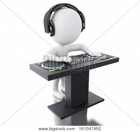 3d Illustration. White people disc jockey with mixer and headphones. Isolated white background.