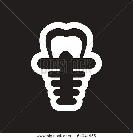 stylish black and white icons tooth implant