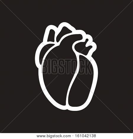 stylish black and white icon human heart