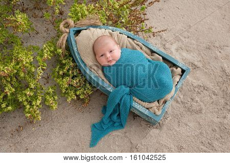 An alert three week old newborn baby boy swaddled in a blue wrap and lying in a little boat. Shot on a sand and beach vegetation background.