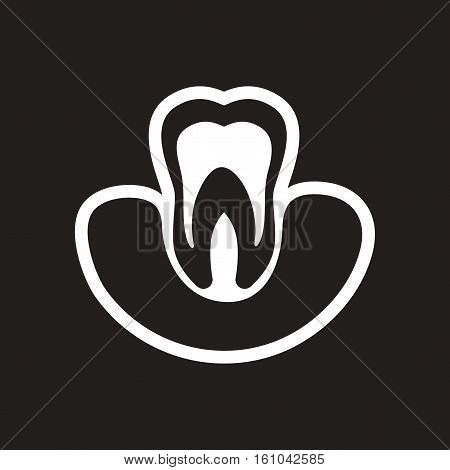 stylish black and white icon healthy tooth