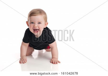 A laughing eight month old baby boy crawling toward the camera on a white seamless background.