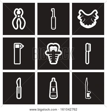 assembly stylish black and white icons stomatology