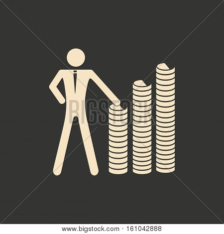 Flat in black and white people at stacks of coins