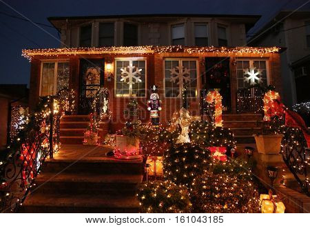BROOKLYN, NEW YORK - DECEMBER 8, 2016: Christmas house decoration lights display in the suburban Brooklyn neighborhood of Dyker Heights
