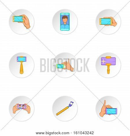 Selfie icons set. Cartoon illustration of 9 selfie vector icons for web