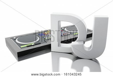 3d Illustration. Disc jockey mixer. Music concept. Isolated white background.