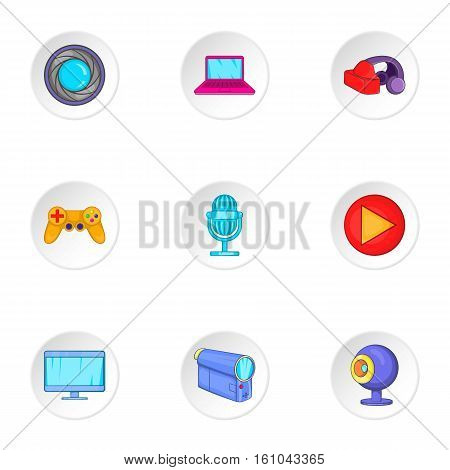 Electronic appliance icons set. Cartoon illustration of 9 electronic appliance vector icons for web