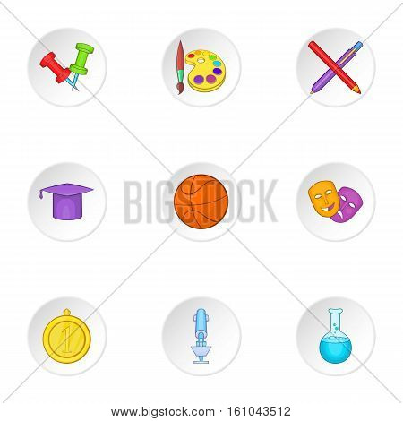 Learning in school icons set. Cartoon illustration of 9 learning in school vector icons for web