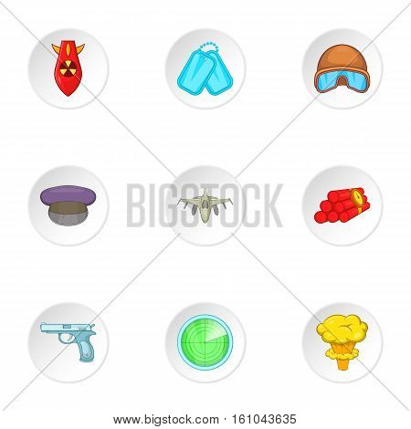 Weapons icons set. Cartoon illustration of 9 weapons vector icons for web