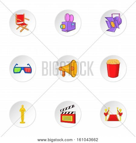 Film icons set. Cartoon illustration of 9 film vector icons for web