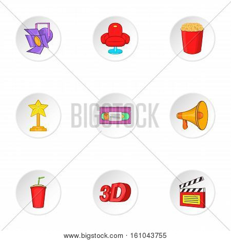 Cinema icons set. Cartoon illustration of 9 cinema vector icons for web
