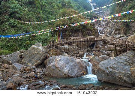 Naga waterfall between Mangan and Chungthang in North Sikkim India.