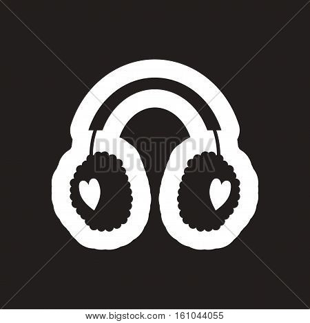 flat icon in black and white earmuffs