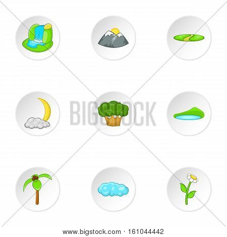 Flora icons set. Cartoon illustration of 9 flora vector icons for web
