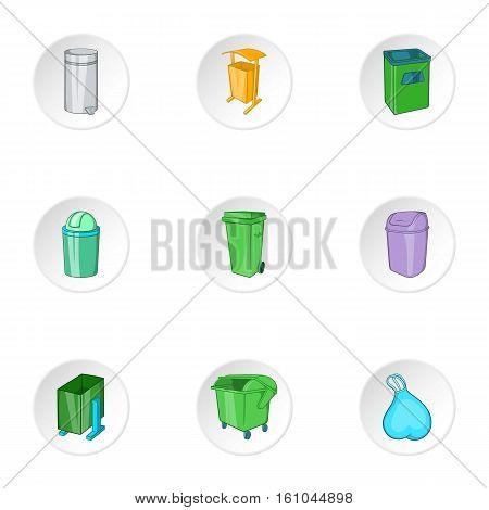 Garbage storage icons set. Cartoon illustration of 9 garbage storage vector icons for web
