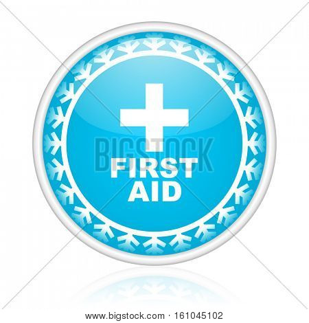 First aid vector icon. Winter and snow design round web blue button. Christmas and holidays pushbutton.