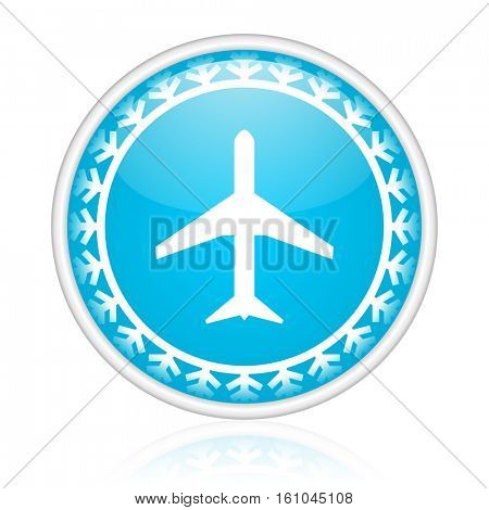 Airport vector icon. Winter and snow design round web blue button. Christmas and holidays pushbutton.