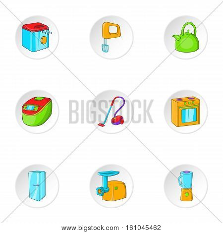 Devices for home icons set. Cartoon illustration of 9 devices for home vector icons for web