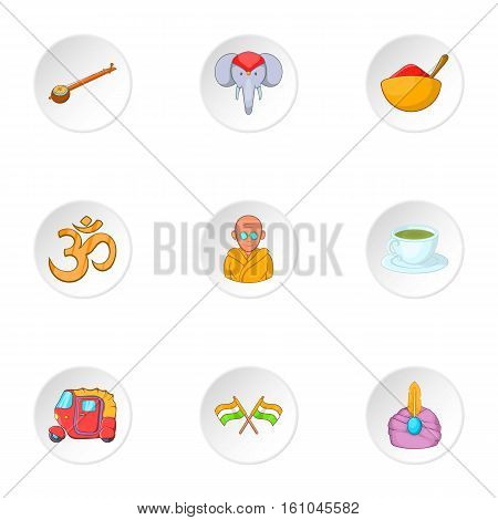India icons set. Cartoon illustration of 9 India vector icons for web
