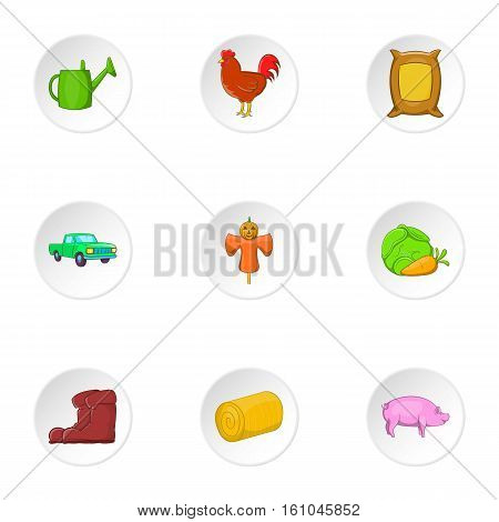 Ranch icons set. Cartoon illustration of 9 ranch vector icons for web