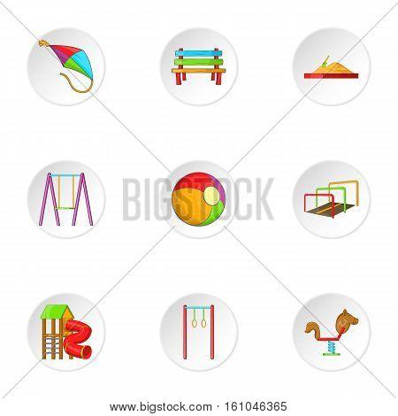 Children swing icons set. Cartoon illustration of 9 children swing vector icons for web
