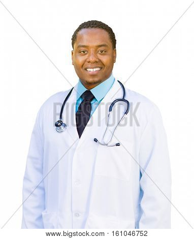 Handsome African American Male Doctor Isolated on a White Background.