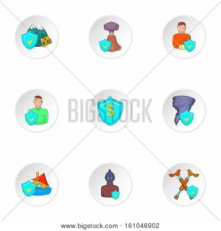 Crash icons set. Cartoon illustration of 9 crash vector icons for web