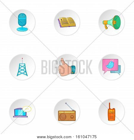 Latest news icons set. Cartoon illustration of 9 latest news vector icons for web